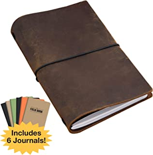 Handcrafted Top Grain Leather Journal Notebook Cover: Includes 6 Bonus Refillable Field Note Book Journals/Compatible with Field Notes and Moleskine Cahier Notebook (5