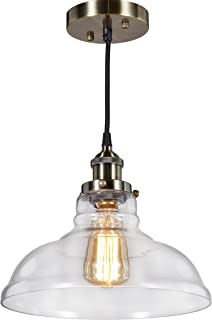 Central Park Industrial Vintage Glass Pendant Lamp, Edison Lighting, Cottage Style Light Fixture, Diameter 11 inches x Height 9 inches, CPH-VYT-11-L1-BRONZE