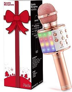 Fede Micrófono Karaoke Bluetooth, Microfono Inalámbrico Karaoke Portátil con luz LED multicolor para Niños Canta Partido M...