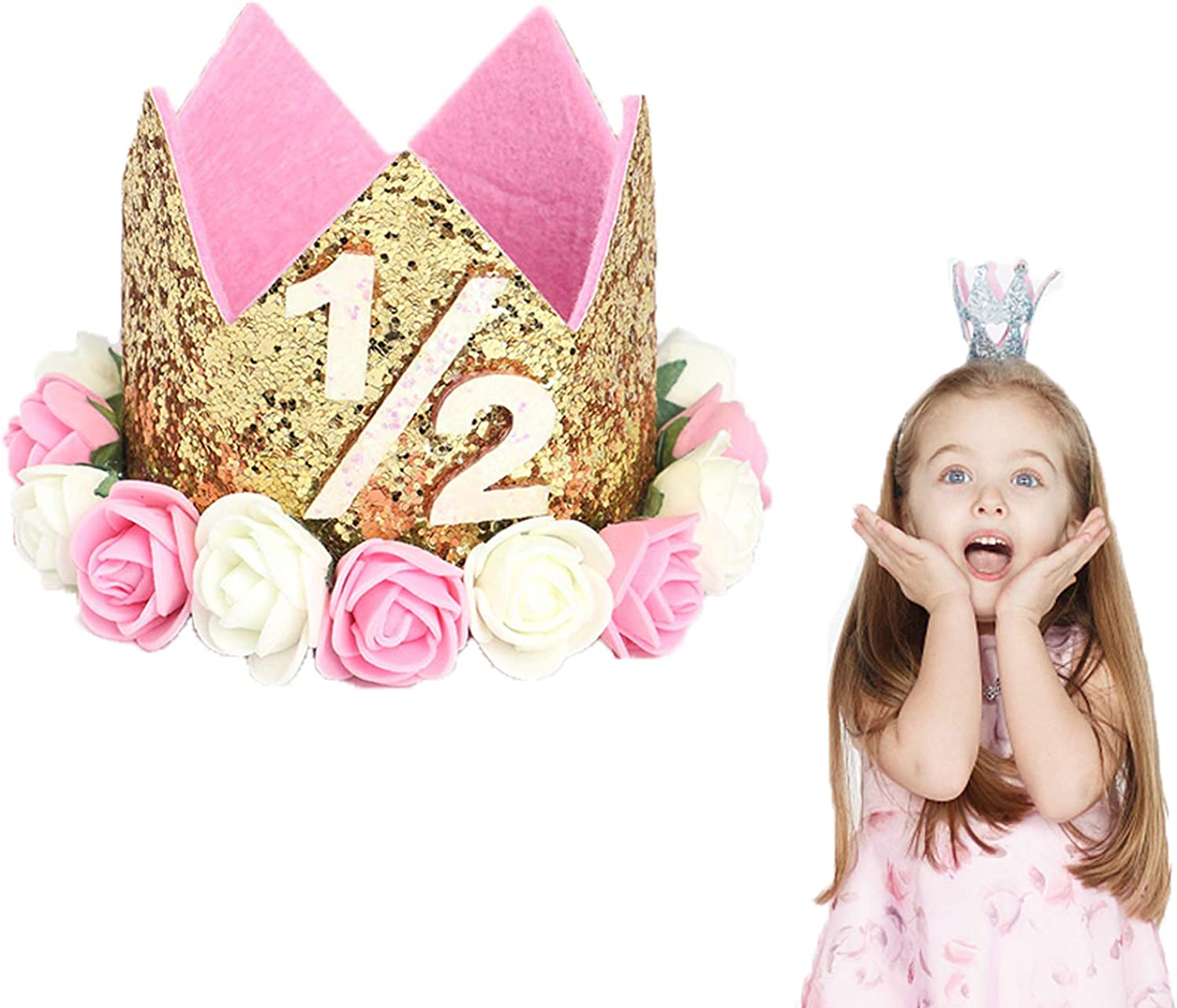 Birthday Party Hat Sparkle Flower Style for Kids Baby Girls VCOSTORE Birthday Hat Baby Girl Princess Tiara Crown