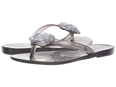 Mini Melissa Mel Harmonic V (Little Kid) (Black Glass Glitter) Girls Shoes