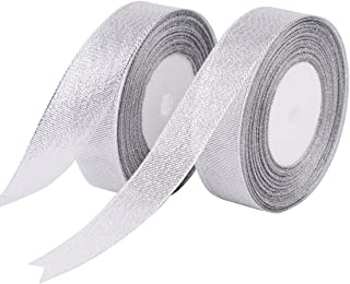 Feyarl 1-inch Wide Glitter Metallic Sparkle Ribbon by 50-Yards (2 Rolls X 25yd) Crafters Wedding Holiday Ribbon Home Decoration Ribbon Gift Wrap Card Making Hair Bows Floral Projects (Silver)