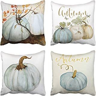 Tarolo Set of 4 Decorative Throw Pillow Case Cover Autumn Pumpkins White Blue Gray Cinderella Pumpkin Fall Watercolor Home Square Decor Pillow Cases Covers Cushion Sofa Size 20x20 Inches Double Sided