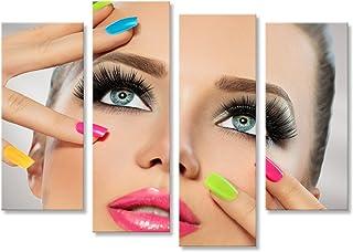 islandburner Cuadro Cuadros Cara de niña de Belleza con Esmalte de uñas Colorido Manicura y Maquillaje Impresión sobre Lienzo - Formato Grande - Cuadros Modernos HEM