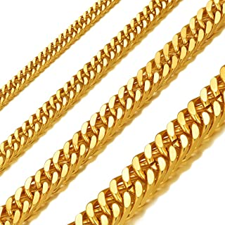 5/7/10/13MM Width Curb Cuban Link Chain Necklace for Men Women 18/20/22/24/26/28/30 Inches Stainless Steel/18K Gold/Black Plated Hip Hop Jewelry(with Gift Box)