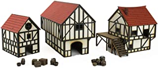 War World Gaming MedievalTownCottage,Townhouse& BarnSet (Painted) & Resin Accessories – 28mm Heroic Scale Fantasy War...