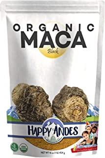 Happy Andes Organic Black Maca Powder 1 lb - Vegan Powder Peruvian Plant Root with Protein for Energy & Fitness - All-Natural, USDA-Certified, No Gluten - Health Enhancement Supplement for Men & Women