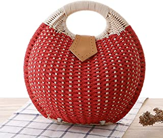 GSERA Strandtasche Strohsack Shell Shaped for Ladies Damenhandtaschen Handmade Bohemian Rattan Handtaschen Damen Geldbörse