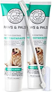 Paws & Pals Dog Toothbrush - Pet Dental Care Kit with Brush, Tooth-Paste & Dual Finger Brush - Teeth Cleaning Set Best for...