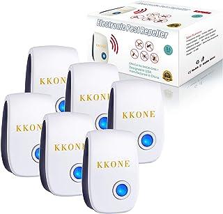 KKONE Ultrasonic Pest Repeller 6 Packs, 2021 Upgraded Pest Control Reject Devices Electronic Plug in Repellent Defender Ho...