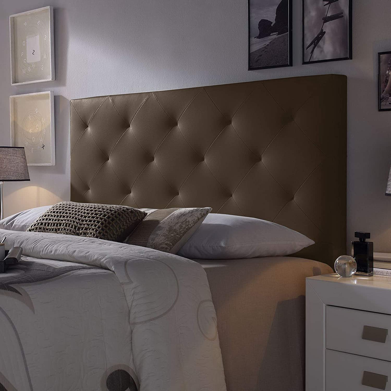 Cabecero tapizado Rombo 140X60 cm Chocolate, para Cama de 135 cm, Acolchado con Espuma, 8 cm de Grosor, Incluye herrajes para Colgar