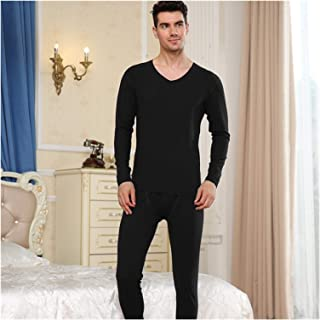Jinqiuyuan Solid Color Slim Men's Thermal Underwear Set Winter Long Johns Male Second Skin Thermo Clothing (Color : Clear,...