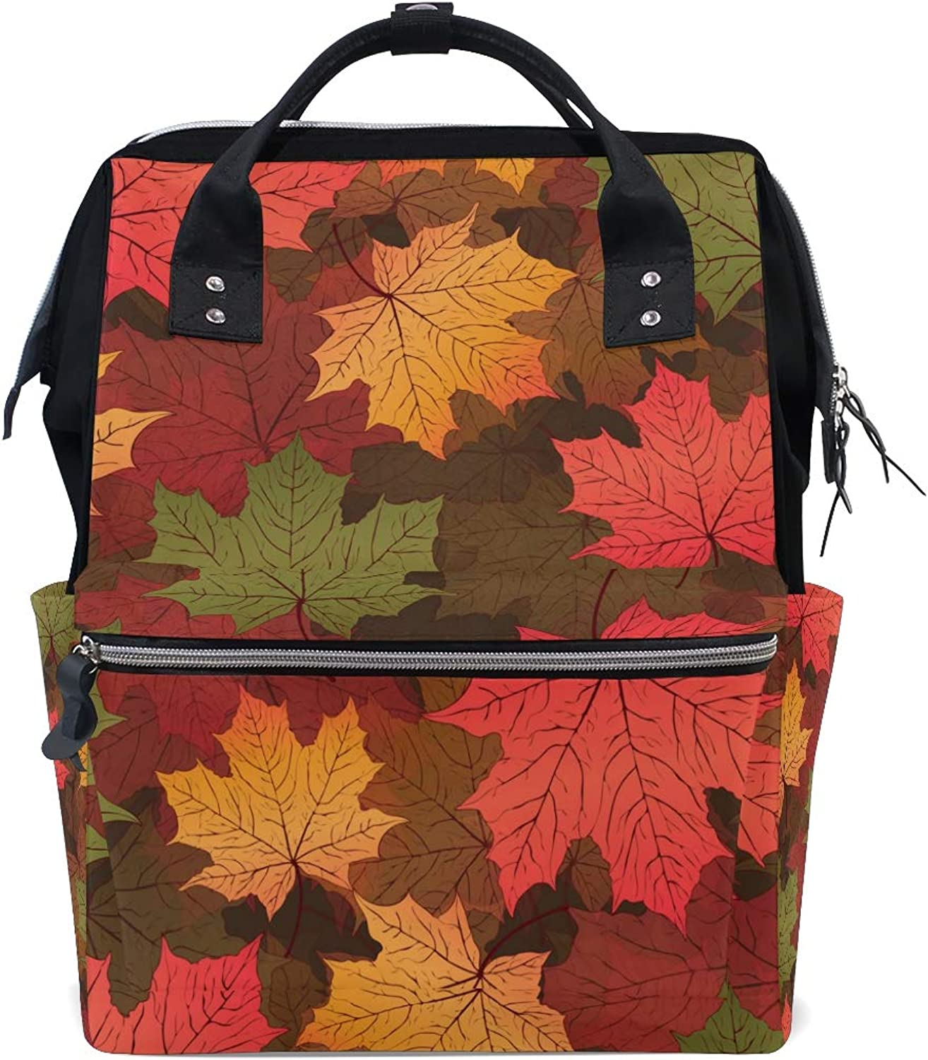 FAJRO Autumn Red Maple Leaves PatternTravel Backpack Canvas Handbag School Pack