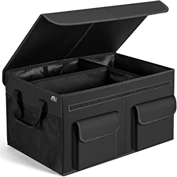 MIU COLOR Car Trunk Organizer with Lid for SUV, Large Capacity, Sturdy Organizer Trunk, Non Slip Bottom
