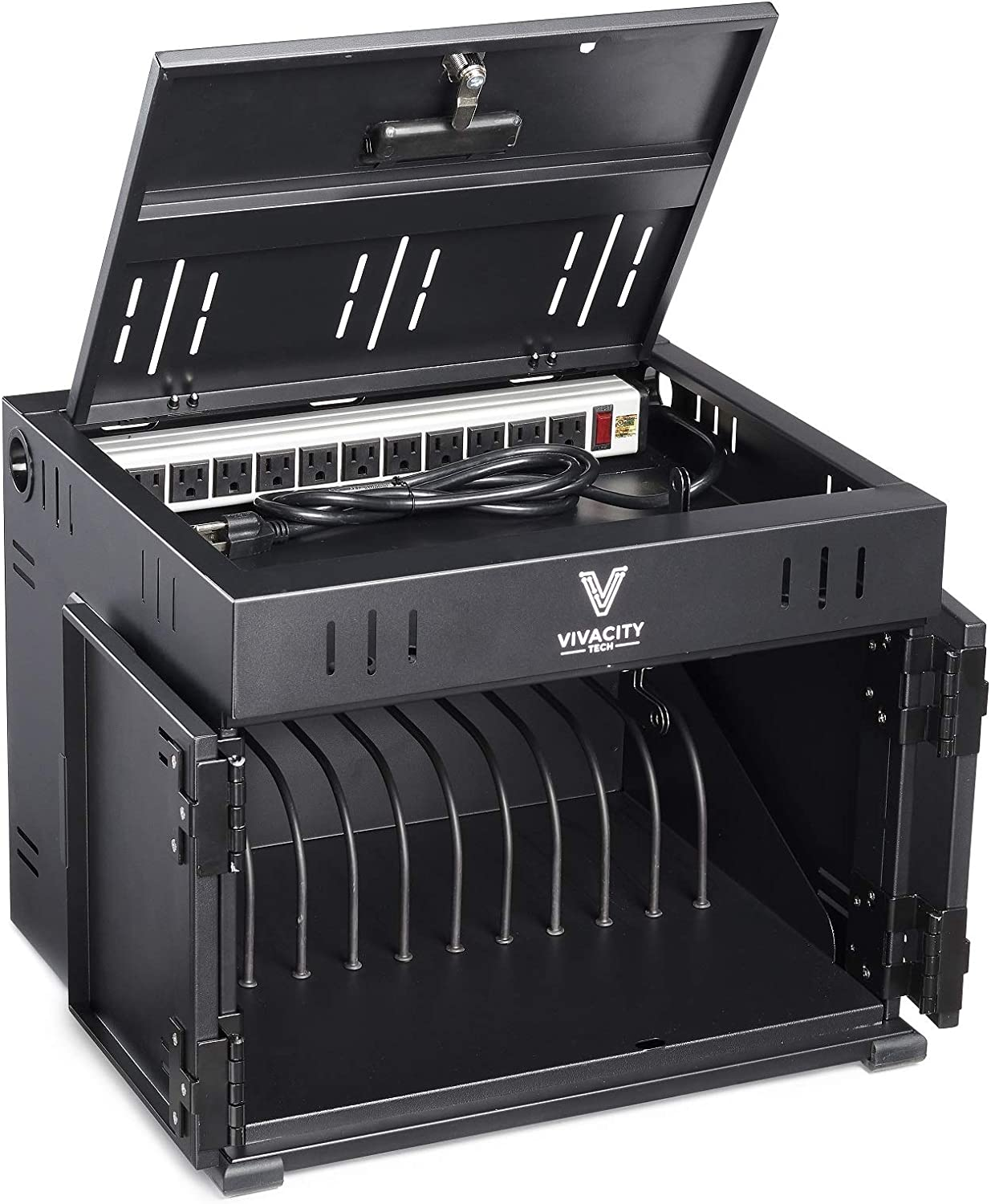 Vivacity Tech 12-Unit Classroom and Office Charging Cabinet for Chromebooks, Laptops and Tablets
