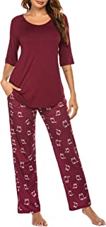Pajamas Set Half Sleeve Top and Pants Set Sleepwear for Women with Pockets