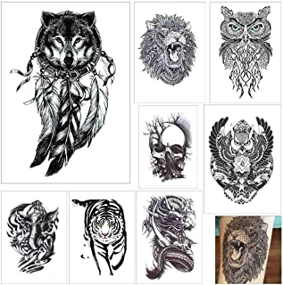 COKOHAPPY 8 Sheets Large Temporary Tattoo Half Arm Extra Sleeve Elephant, Dead Skull, Lion, Owl, Dragon, Tiger, Wolf for Guys Man Shoulder Chest Back