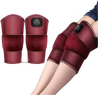 yxx Rodillera magnetoterapia Soporte for Las Rodillas, piernas Rodilla masajeador eléctrico vibrador Masaje de la Pierna Cojines moxibustión compresa Caliente Fisioterapia Antiguo frío (Rojo)