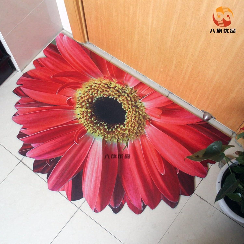 Indoor Outdoor Flower Doormats Rubber Antislip Entry Mat Durable Decorative Rug Mat Absorbent Bathroom Mats and Rugs-red 60x90cm(24x35inch)