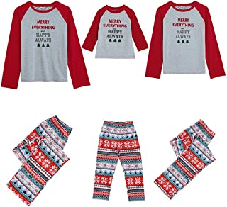 Family Matching Christmastree Pajamas,Christmas Mommy &Daddy&Me Cartoon |Merry Everything and Happy Always| Printed Nightwear Suit Top+Pant Sets