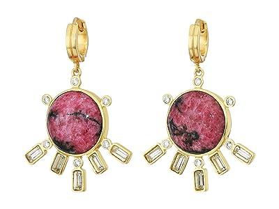 SOLE / SOCIETY Fanned Huggie Earrings (12K Soft Polish Gold/Crystal/Pink Aventurine) Earring