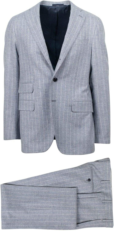 Caruso Men's Striped Wool 3 Roll 2 Button Slim/Trim Fit Suit 50/ R Drop 7 40 Gray