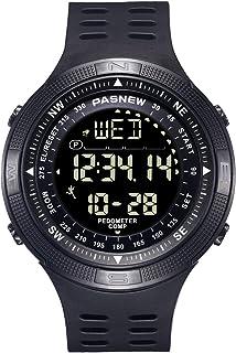 PASNEW Boys Watch,Outdoor Sports Watch, Step Counter intelligen Compass Multifunction Waterproof Digital watch-5008Black