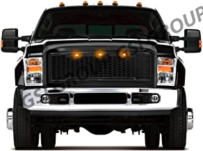 GSI Raptor Style Gloss Black Mesh Grille W/3x Amber LED Replacement Shell Packaged Grille fit for 2008-2010 Ford Super Duty F250+F350+F450+F550+F660