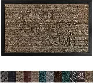 Gorilla Grip Original Durable Rubber Door Mat, 29x17, Heavy Duty Doormat for Indoor Outdoor, Waterproof, Easy Clean, Low-Profile Rug Mats for Winter Snow, High Traffic Areas, Beige Home Sweet Home