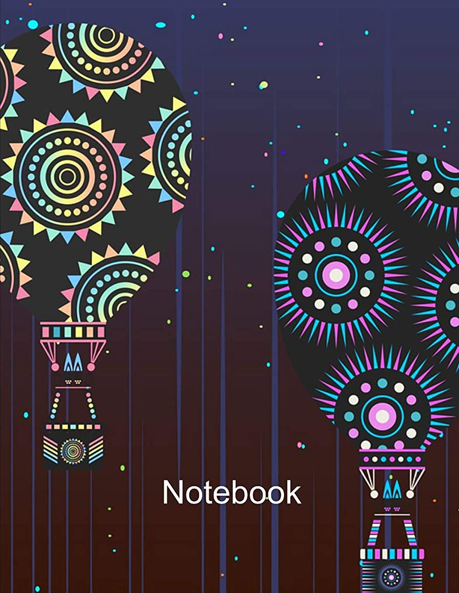 Notebook. Hot Air Balloons Cover Design. Composition Notebook. Wide Ruled. 8.5 x 11. 120 Pages.
