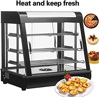 Nurxiovo 27'' Countertop Food Warmer Display Cases Pizza Commercial Heated Bakery Stainless Steel Hot Pastry Restaurant self Service Empanda Patty w/ 3 Shelves 25-1/2 X 27 X 19in