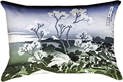 Waterproof and Mildew Proof Japanese Courtesan in Pink and Purple Pillow ArtVerse Katsushika Hokusai 14 x 20 Outdoor Cushions UV Properties