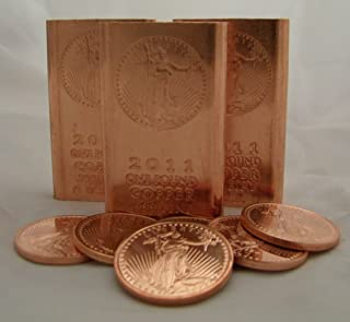 1 Pound (Flat Style) Copper Bullion Bars + 5 (Five) 1 Ounce Copper Rounds @ Great Price