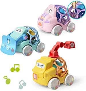 ZMZS بيبي راتل رول سيارة للأطفال الصغار ألعاب الأطفال الرضع 6 12 18 شهرًا للفتيات هدية أولى مع مطاط ناعم 3 قطع سيارة دفع ل...