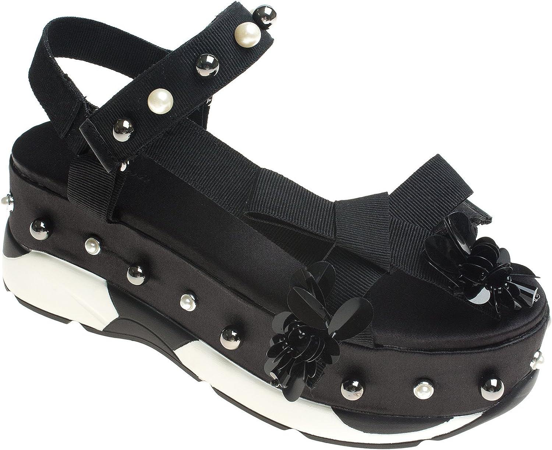 AnnaKastle Womens Faux Pearl Embellishment Platform Sandals