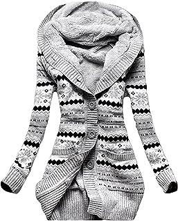 Minetom Mujer Invierno Lana De Punto Botón Jerséis Outwear Suéter Cárdigan Túnico Sudaderas con Capucha Prendas De Punto A...