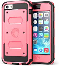 iPhone 5C Case, i-Blason Armorbox for Apple iPhone 5C Dual Layer Hybrid Full-body Protective Case with Front Cover and Built-in Screen Protector and Impact Resistant Bumpers for iPhone 5C (Apple Pink)