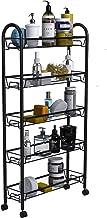 WASJOYE Utility Cart 5-Tier Gap Mesh Wire Kitchen Sauce Organization Storage Rack Trolley Rolling Cart with Lockable Wheel...