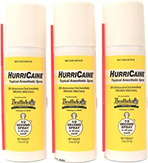 Hurricaine Topical Anesthetic Spray 2 oz Wild Cherry (Pack of 3)