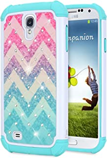 Galaxy S4 Glitter Case for Girls Women Kids, NageBee Sparkle Bling Studded Rhinestone Diamond Shockproof Hybrid Cover Cute Case for Samsung Galaxy S4 -Wave