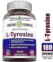 Amazing Formulas L Tyrosine - 500 mg, 180 Capsules - Supports Mental Alertness, Energy, Focus, Healthy Glandular Function and Balance