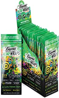 100 Wrap Display Beamer Vegan Hemp Wraps (25 Packs of 4) - 1 ¼ Size - No GMOs, Chlorine, or Bleach + Beamer Smoke Sticker