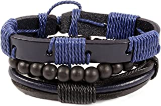 Unknown By Ayesha Men's Black And Blue Faux Leather Bracelet