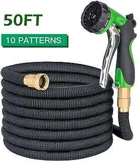 Apas 50ft Expandable Garden Hose - 10 Pattern Spray Nozzle, Expanding Water Hose, 3/4