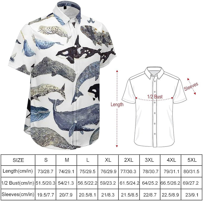 Men's Short Sleeve Button Down Shirt Whale Shark Variety of Fish Summer Shirts