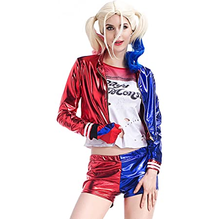 Suicide Squad ジョーカー ハーレイ・クイン コスプレ衣装 コスチューム 演出服 舞踏服 仮装 文化祭 女性用 8392 (L, 4点セット)