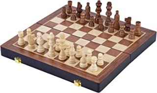 Engelhart - Jeu d'échecs de Luxe en Bois Massif - Pliant avec Les pièces sculptées - Bois de frêne - 2 Dimensions (38,5 cm)
