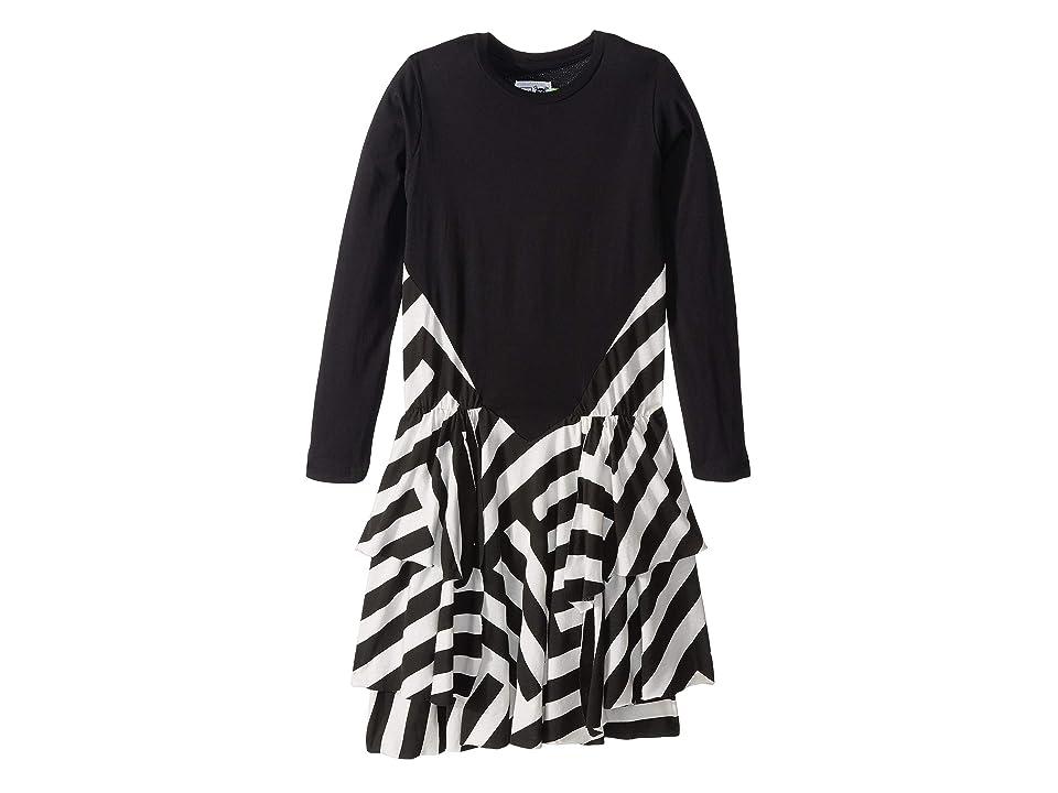 Nununu Striped Layered Dress (Little Kids/Big Kids) (Black) Girl