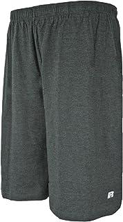 قميص رياضي رجالي كبير وطويل بخصر مطاطي بالكامل بلون فحمي/هيذر من Russell Athletic