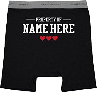Property of Custom Name Mens Boxers: Hanes Black Boxer Brief Underwear